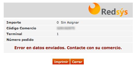 RedSys Error en datos enviados Contacte con su comercio