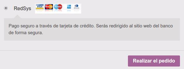 RedSys tarjetas de crédito finalizar compra