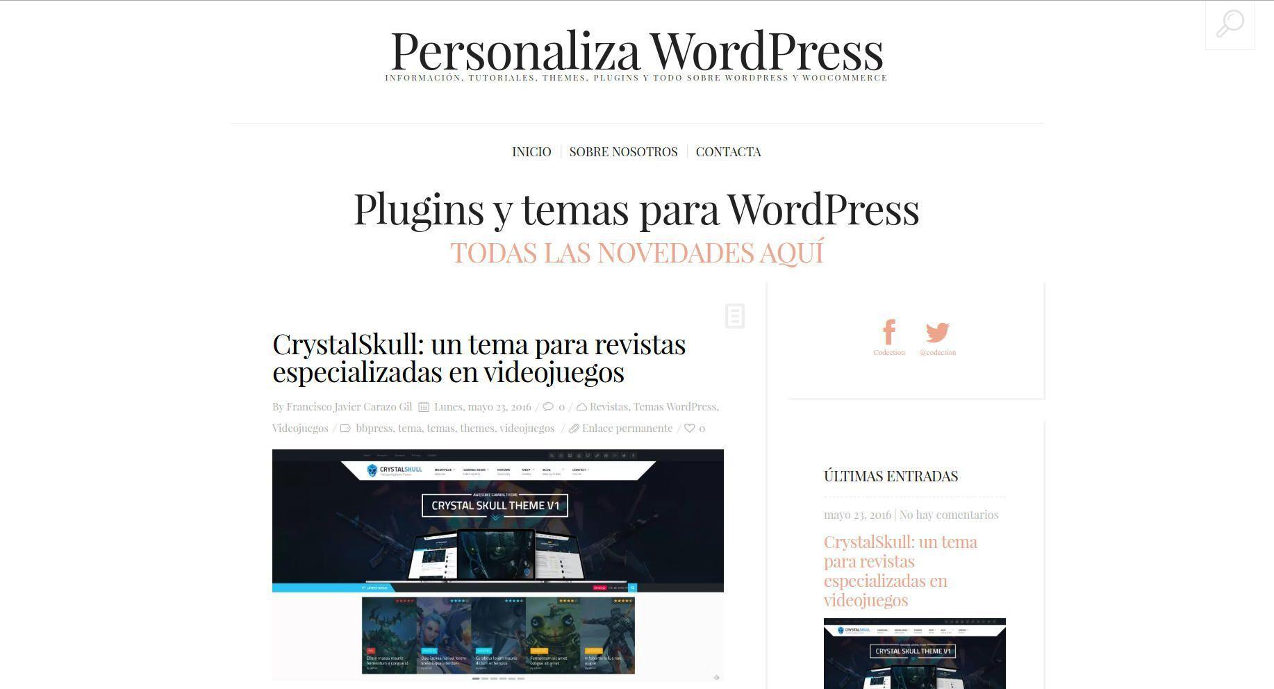 Personaliza WordPress nuestro nuevo proyecto para recomendar temas y ...