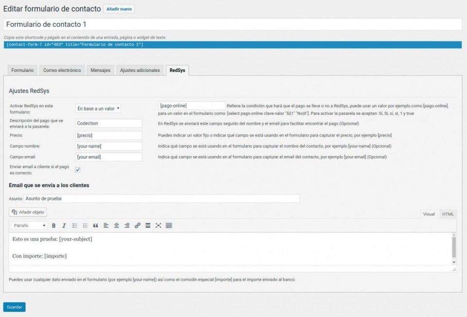 Configurar RedSys en Contact Form 7