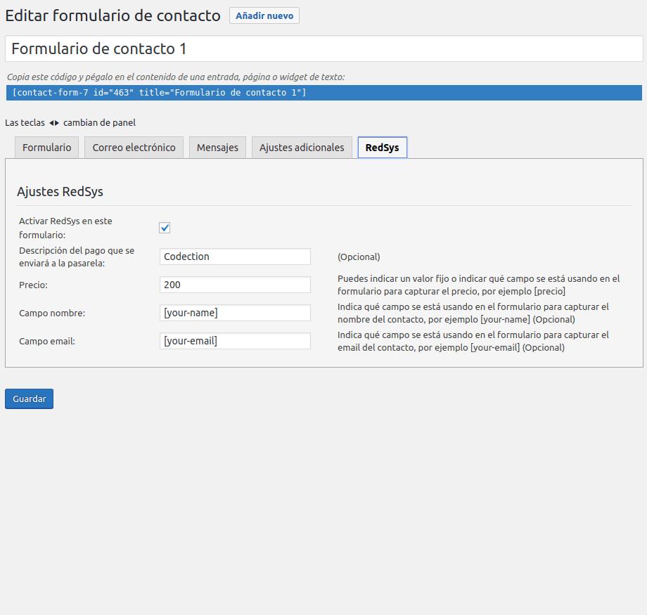 Editar formulario de contacto ‹ Piloto — WordPress