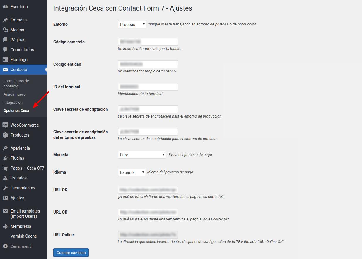 Ceca para Contact Form 7 opciones de configuración de la pasarela