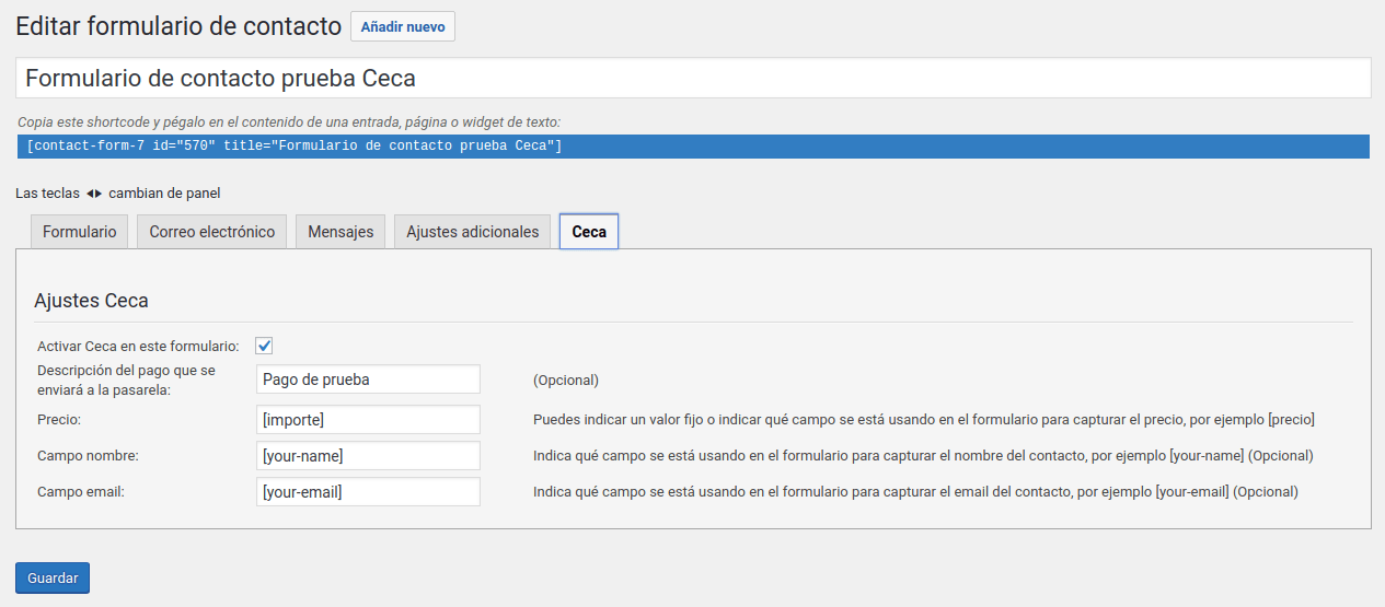 Ceca para Contact Form 7 pago para cada pasarela