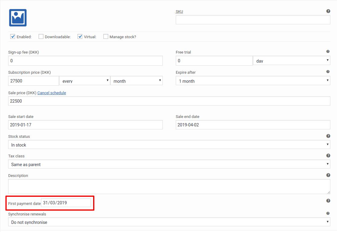Fecha primer pago suscripción de tipo variable