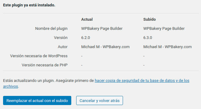 Actualizar plugin WordPress 5.5