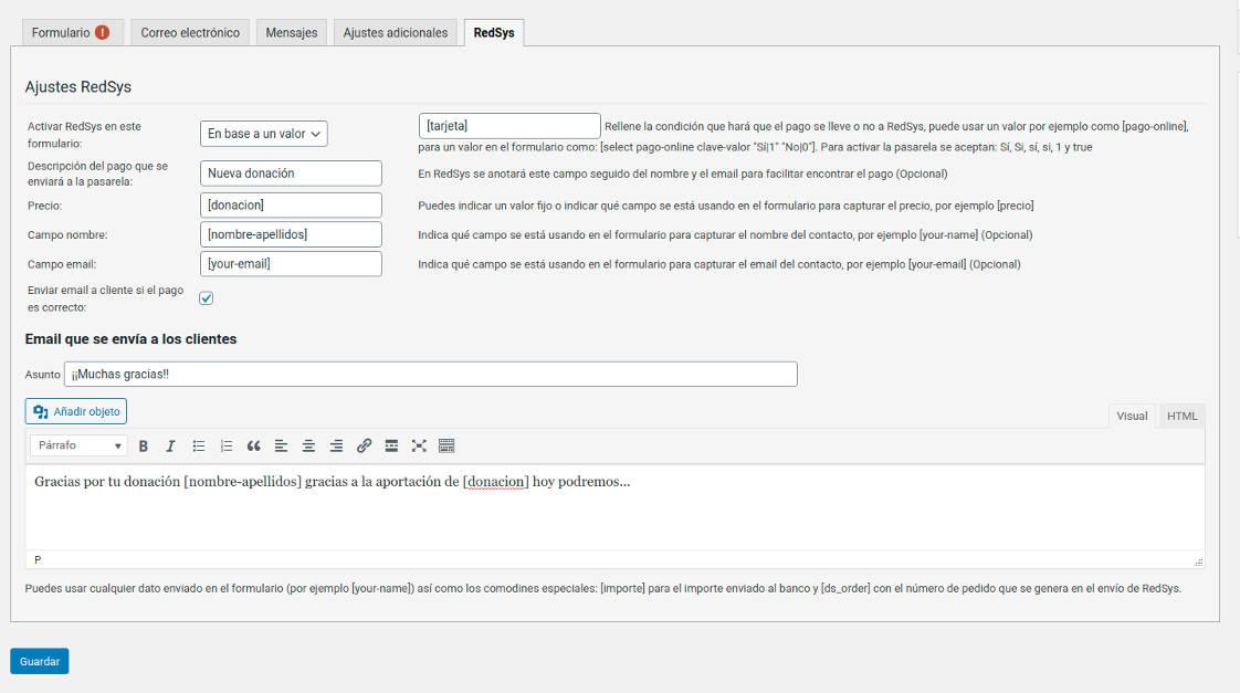 Configuración RedSys en un formulario